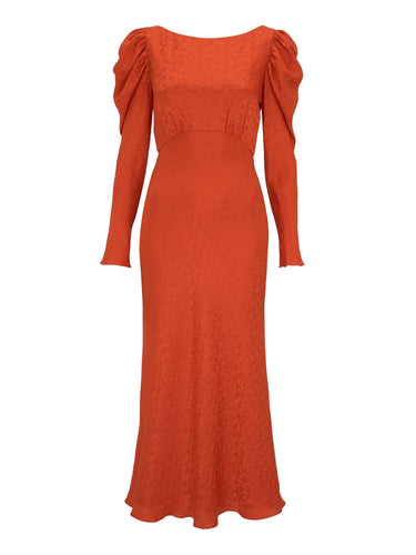 Alena Bitter Orange Satin Stamped Dress