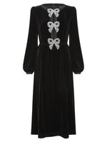 Camille Velvet Embellished Bows Dress (Pre Order)