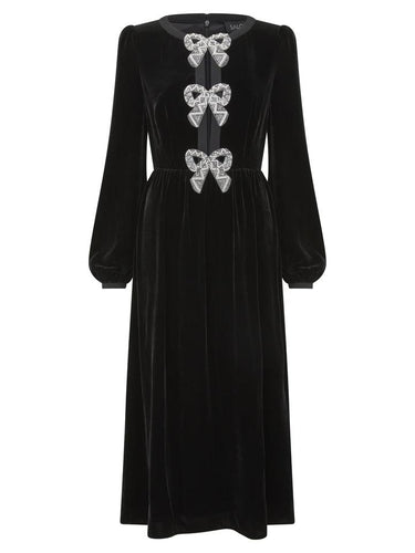 Camille Velvet Embellished Bows Dress
