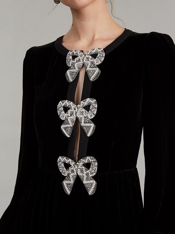 Load image into Gallery viewer, Camille Velvet Embellished Bows Dress