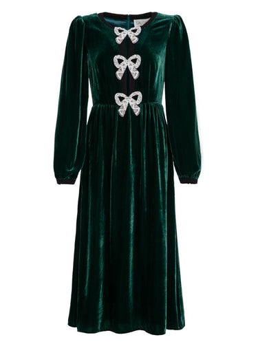 Camille Velvet Embellished Bows Dress in Green