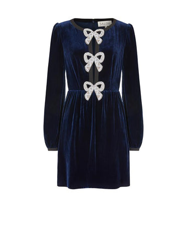 Camille Bows Mini Dress in Navy