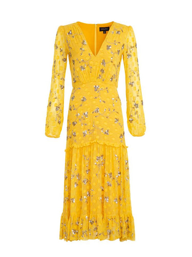Devon Dress in Yellow Sequin Embroidered
