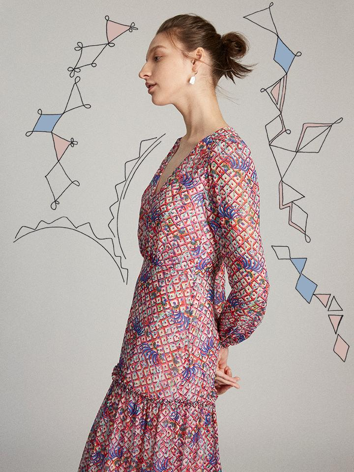 Load image into Gallery viewer, Devon Dress in Iris Lattice