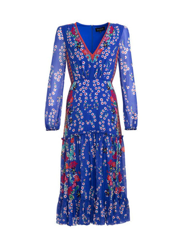 Devon Dress in Cobalt Eden