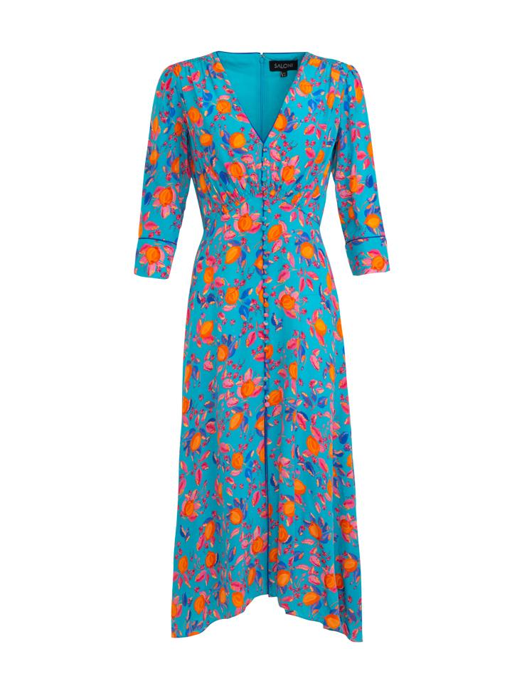 Load image into Gallery viewer, Eve Dress in Turquoise Limoncello print