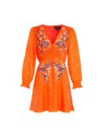 Eve Mini Dress in Orange/ Blue Holi Embroidery