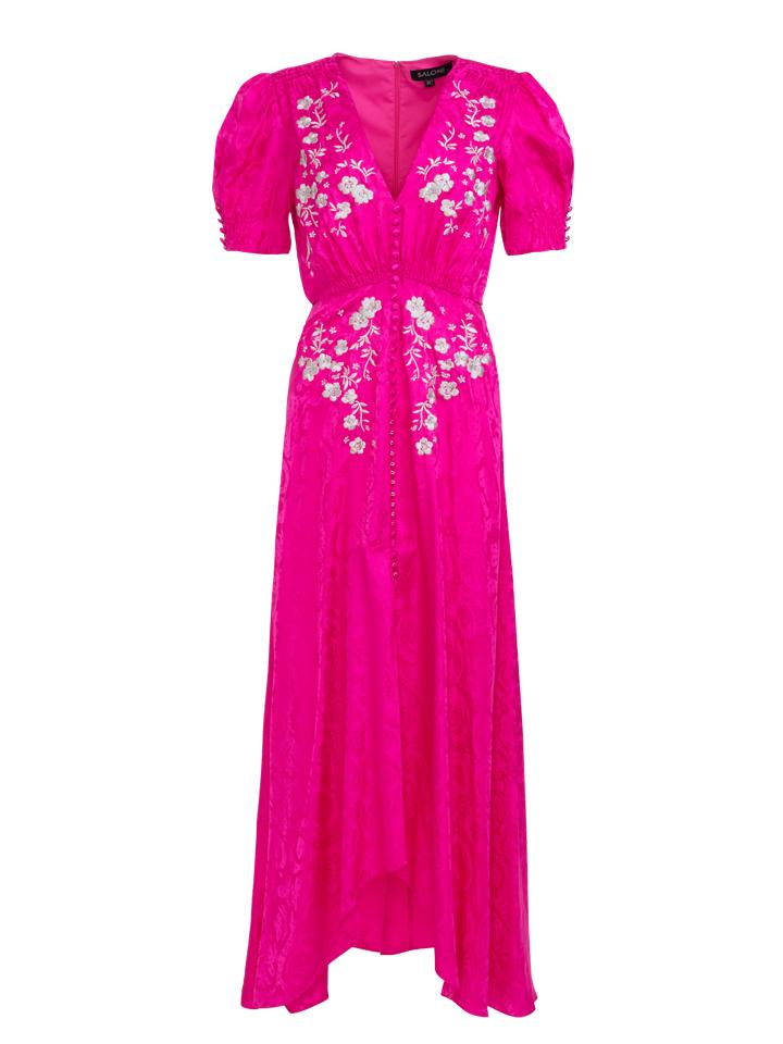 Load image into Gallery viewer, Lea Long Dress in Hot Pink