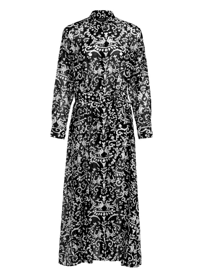 Load image into Gallery viewer, Inez Dress in Noir Phoenix print