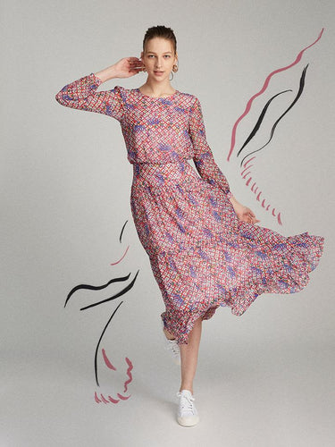 Isabel Dress in Iris Lattice