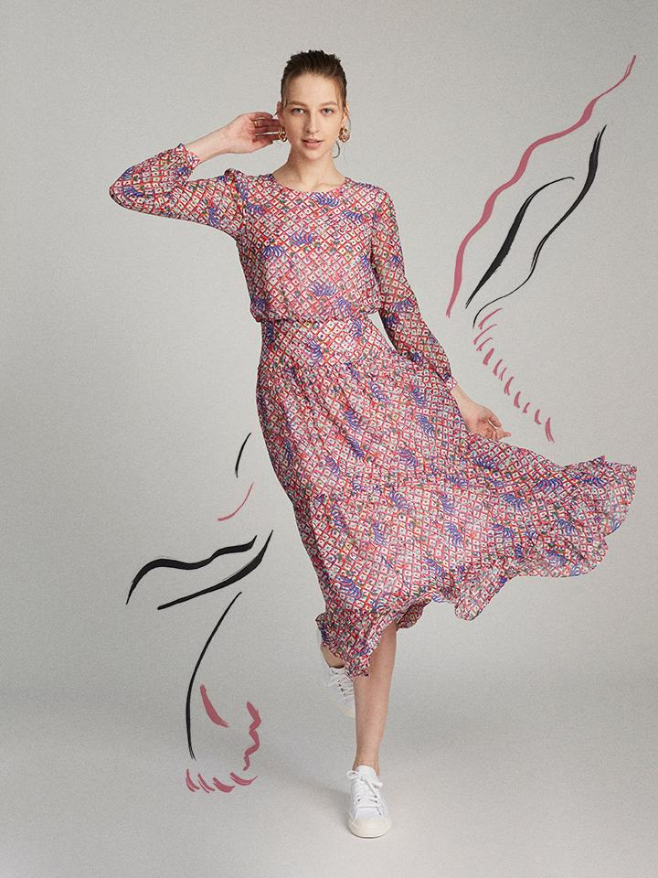 Load image into Gallery viewer, Isabel Dress in Iris Lattice