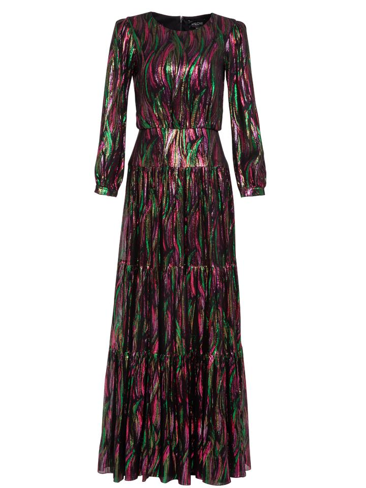 Load image into Gallery viewer, Isabel Long Dress in Metallic Rainbow