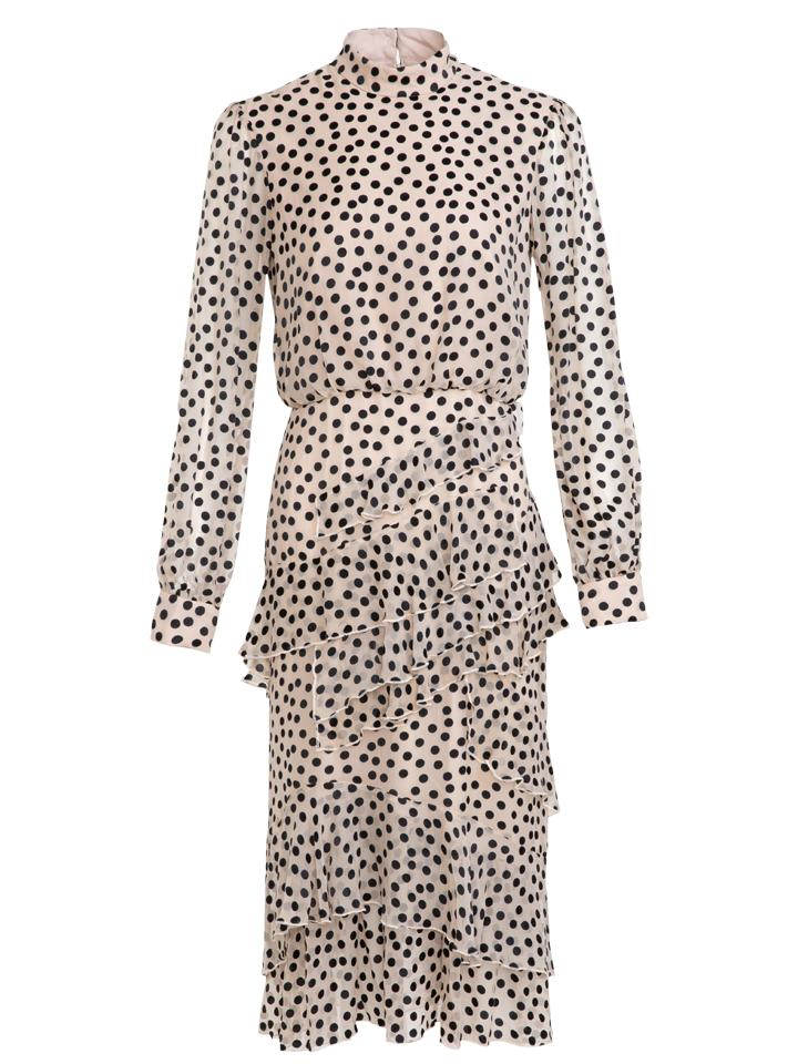 Load image into Gallery viewer, Isa Ruffle Dress in Black Cream Dots