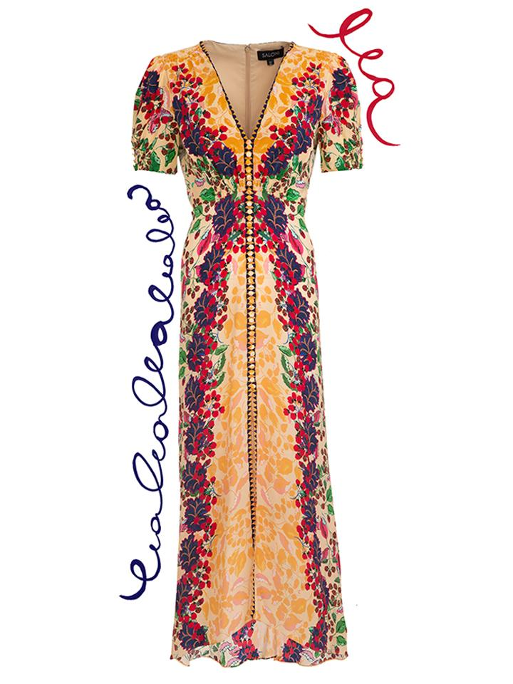 Load image into Gallery viewer, Lea Long Dress in Champagne Berries