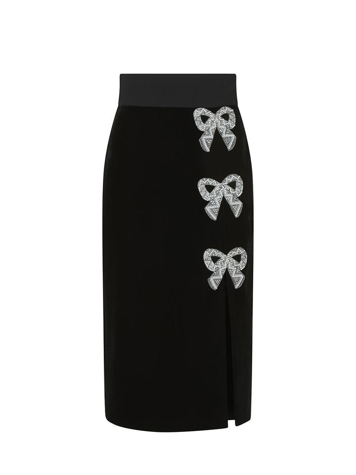 Load image into Gallery viewer, Kirsten Velvet Embellished Bows Skirt