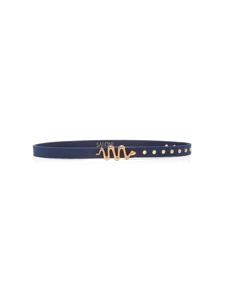Venyx Snake Eyes Navy Leather Belt
