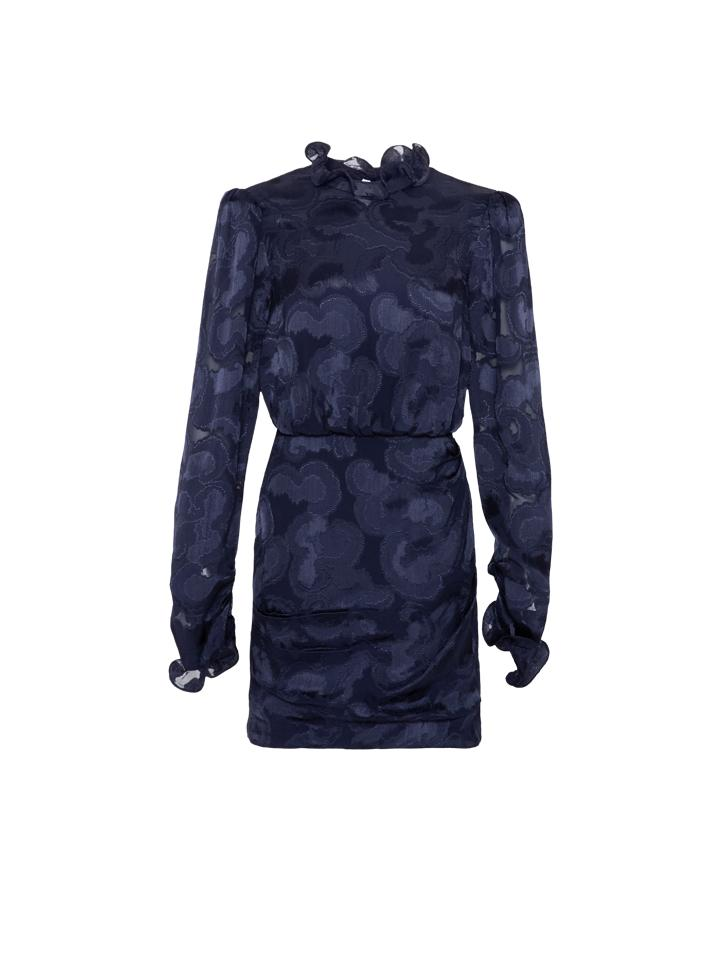 Load image into Gallery viewer, Rina Dress in Navy Jacquard