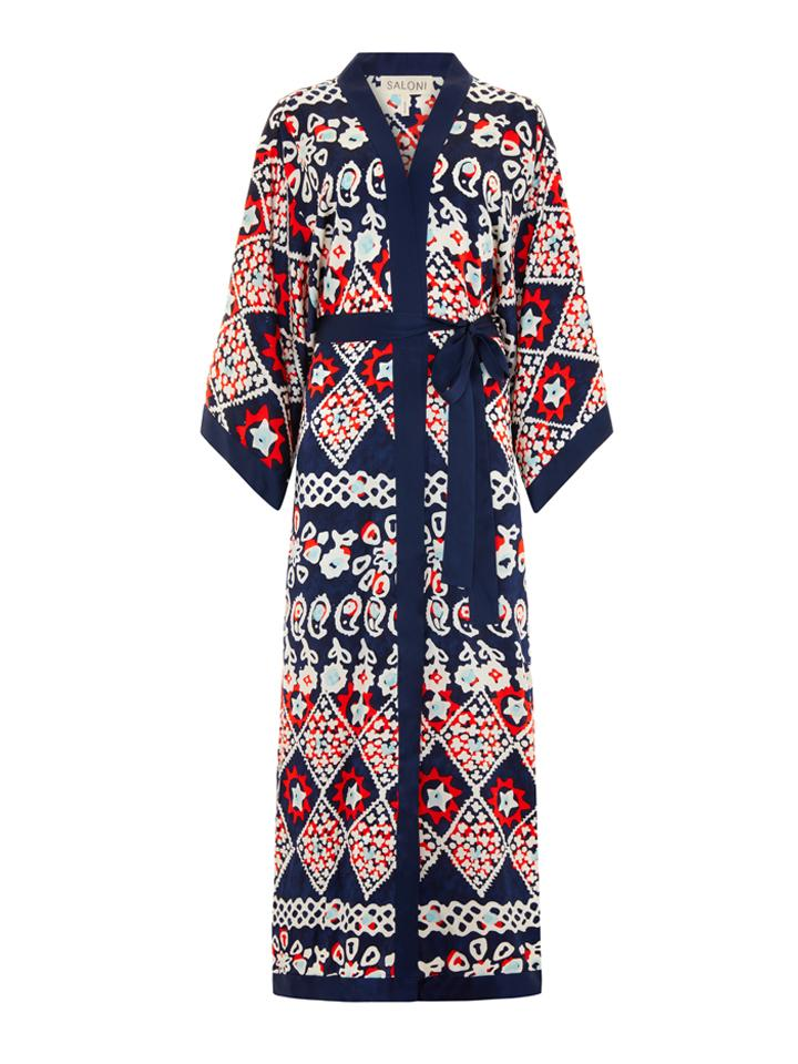 Load image into Gallery viewer, Silk Kimono Robe in Navy Batik