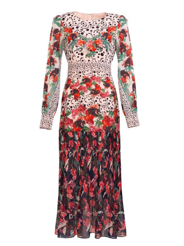 Vera Dress in Swirling Moonflower print