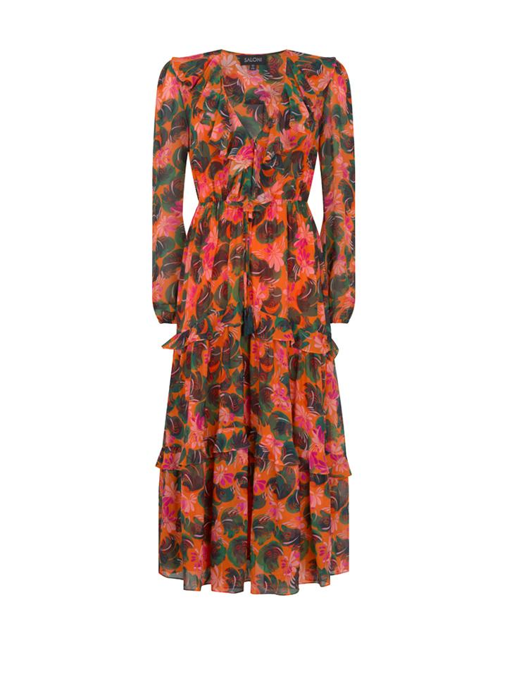 Load image into Gallery viewer, Yara Dress in Orange Lilypad print