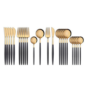 Gold with Black Handle Silverware Set (24 pieces)