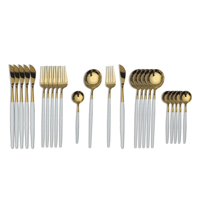 Gold with White Handle Silverware Set (24 piece)