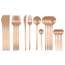 Load image into Gallery viewer, Matte Rose Gold Silverware Set (24 pieces)