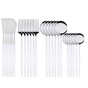 Silver with White Handle Silverware Set (24 pieces)