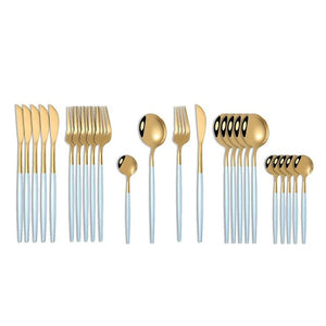 Gold with Blue Handle Silverware Set (24 pieces)