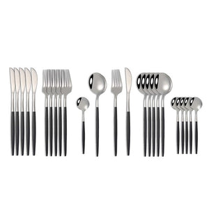 Silver with Black Handle Silverware Set (12 pieces)