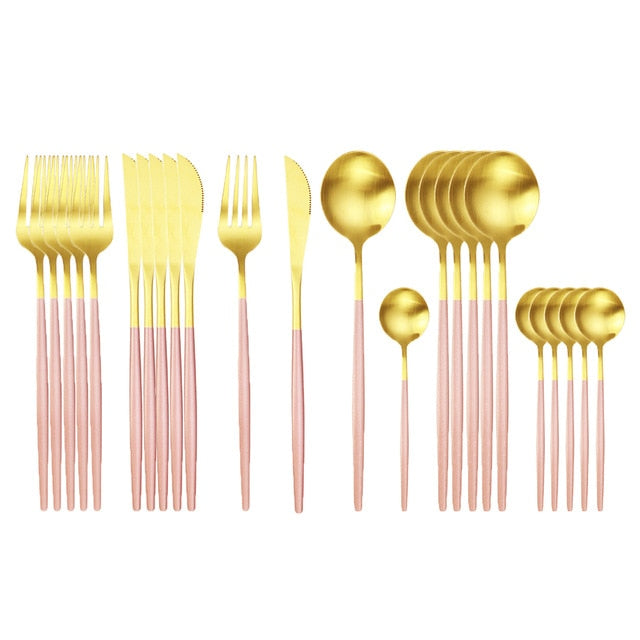 Gold with Matte Pink Handle Silverware Set (24 pieces)