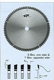 "FS Tool L4D300-RH<br>12"" x 1"", Double Cut Off Saw Blades, 3 Beveled One Side And 1 Beveled Opposite Side, 80 Teeth"