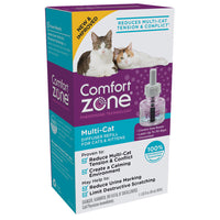 Comfort Zone Multi-Cat Diffusers reduce multi-cat tension and conflict by releasing drug-free, odorless, calming pheromones that mimic cats' natural, calming pheromones for up to 30 days.