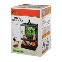 Kit includes: Glass Terrarium holds up to 5″ of water, Textured Background, Front Opening Glass Door, Front Locking Latch, Locking Pin, Hinged Screen Top, Mini Halogen Dome, Mini Halogen Bulb, Feeding Dish, Coconut Husk Bedding, Humidity/Temperature Gauge, and Setup Guide.