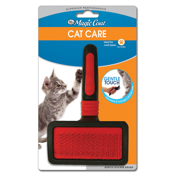 Four Paws grooming essentials keep pets happy, healthy, clean, and smelling great while providing for day-to-day grooming needs. The Magic Coat Gentle Slicker Wire Brush is specially designed for cats to eliminate all unwanted hair with a gentle touch. Bristles help stimulate the skin to promote healthy circulation and increase coat's shine.