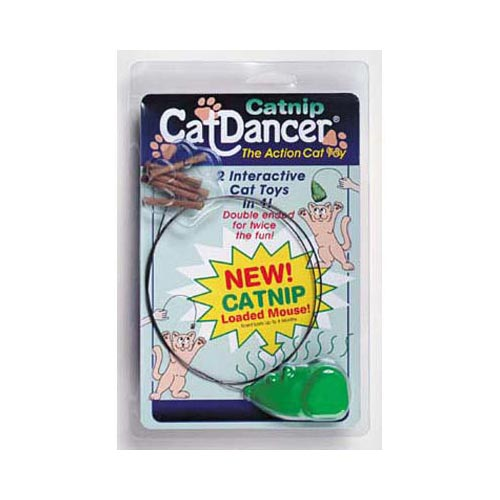 The Catnip Cat Dancer features the same lure as Cat Dancer but incorporates a mouse on the other end. This mouse is infused with 100% catnip oil in the molding process and the plastic will give off the scent of catnip for up to four months. The product is completely sealed in a two-sided blister to keep the catnip vapor locked in until the customer opens the package. With the Cat Dancer lure on one end and the catnip mouse on the other the Catnip Cat Dancer is the first double-ended interactive cat toy.