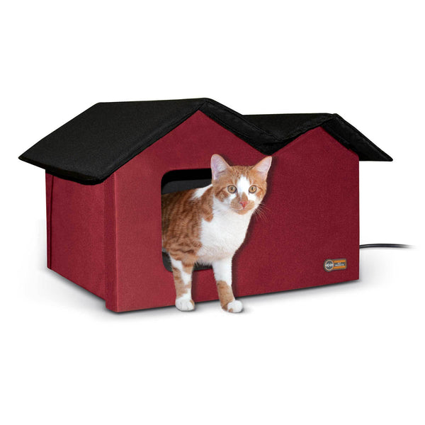 K&H Pet Products Outdoor Kitty House Extra-Wide Unheated Red