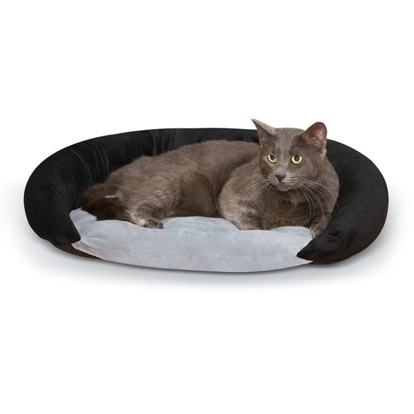 K&H Pet Products Self-Warming Bolster Bed Gray/Black 14″ x 17″ x 5″