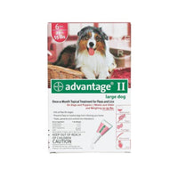 Advantage Flea Control is a monthly application that kills 98% to 100% of fleas and their larvae within 12 hours. In addition, re-infesting fleas are killed within 2 hours. Kills fleas before they have the chance to lay eggs – thus breaking the flea life cycle. Effective up to 6 weeks!