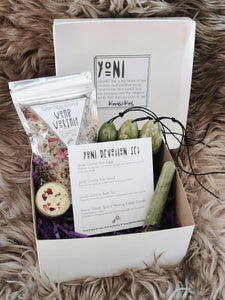 Yoni Devotion Set - Yoni Eggs + Wand, Womb Worship Bath Tea & Tealight Candle