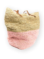 Pink Two Toned Raffia Bag from Plume