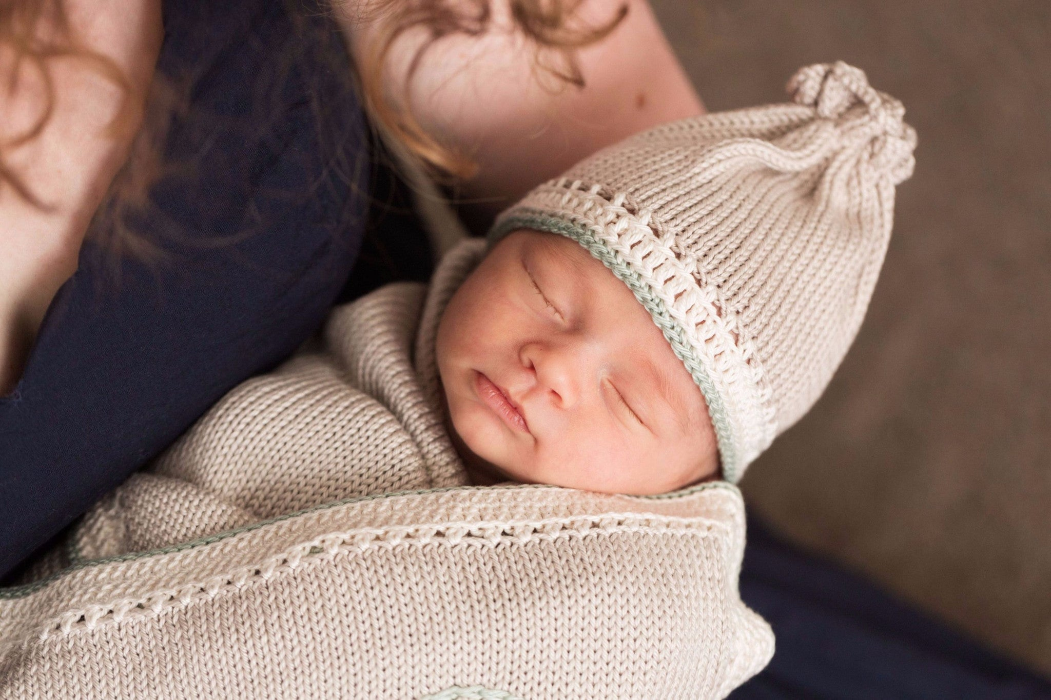 Hand-knit Pima Cotton Baby Hat (taupe sage)