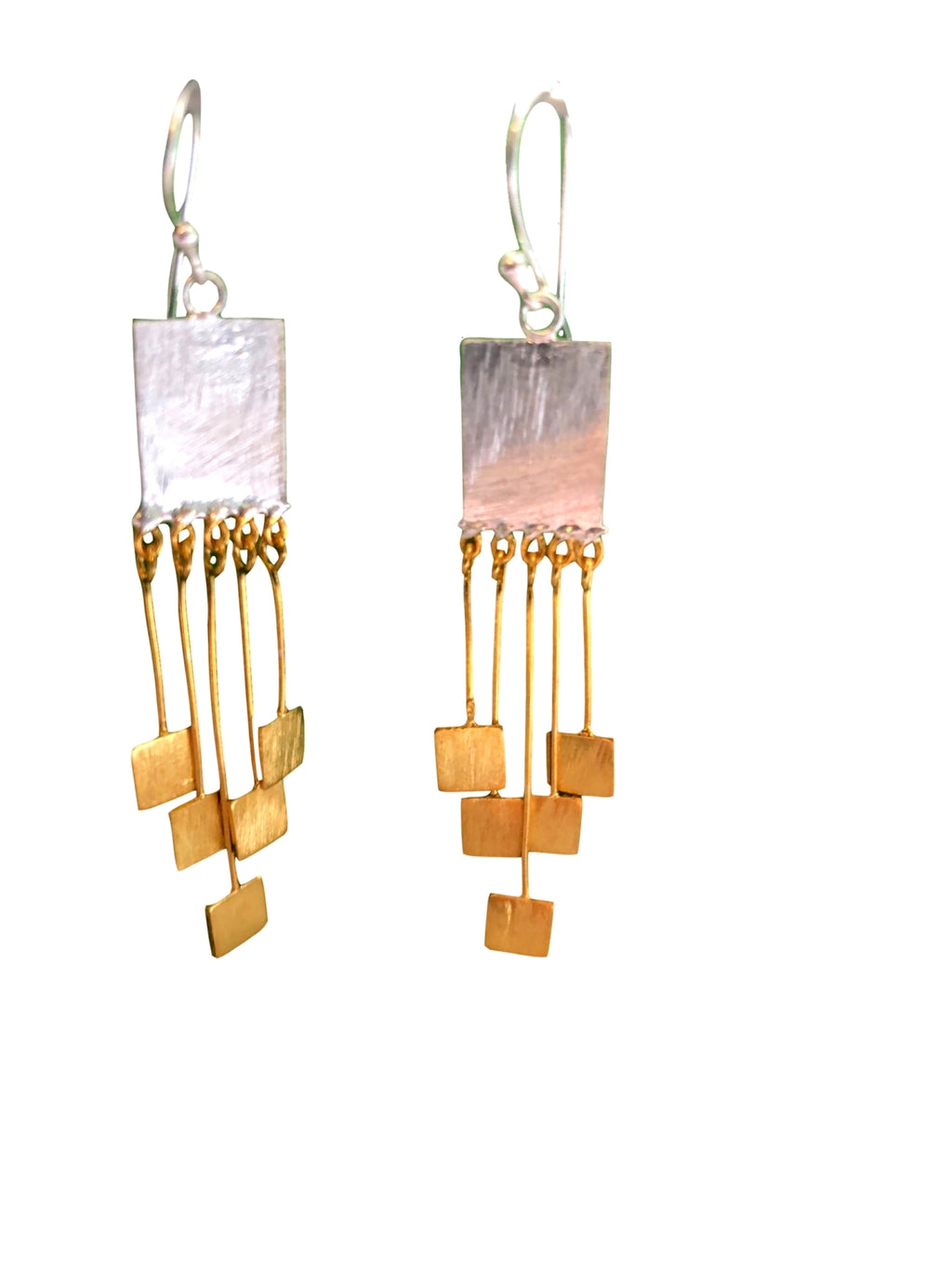 Two-Tone Square Dangling Earrings