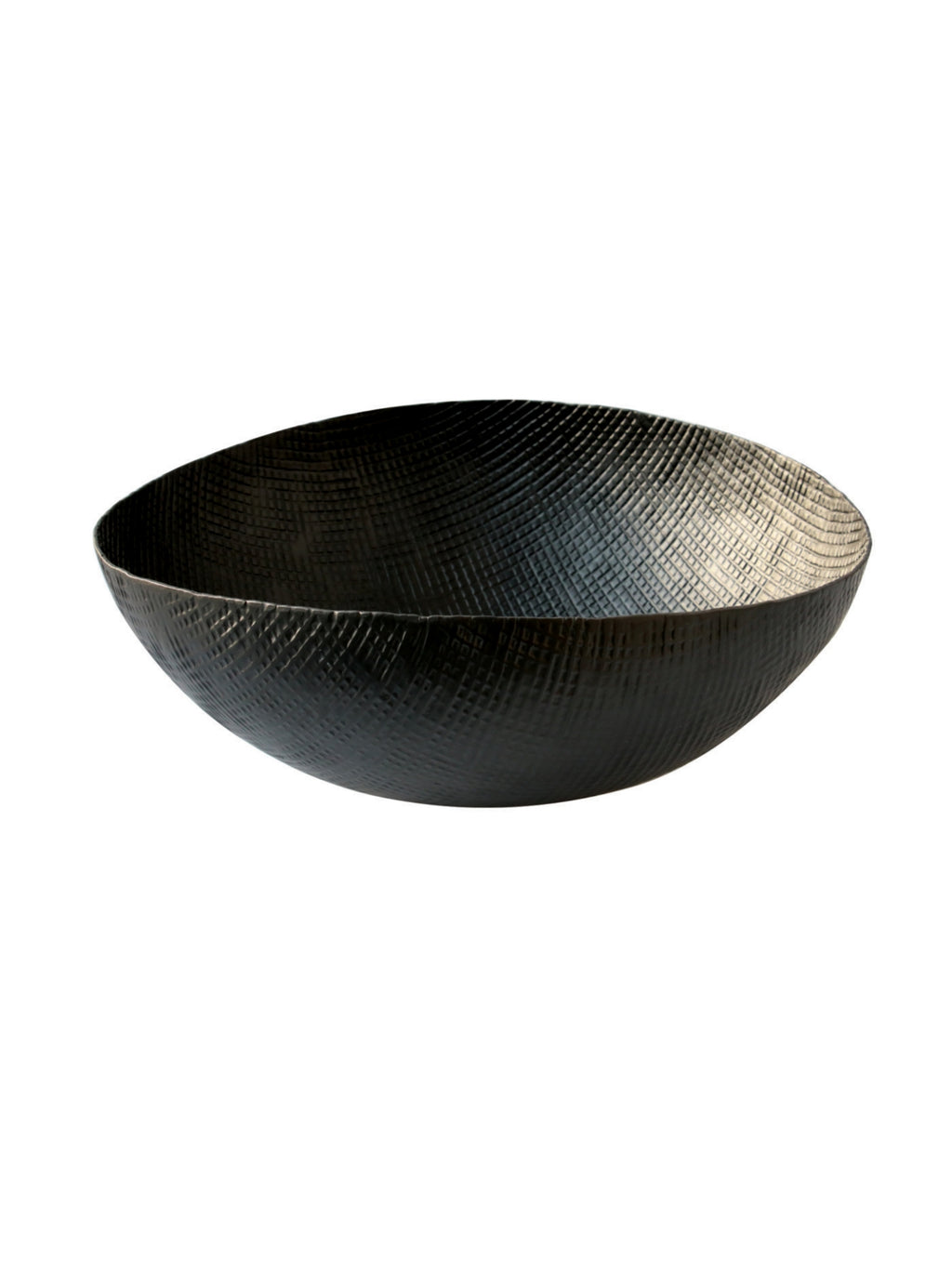 Large Black Crosshatch Aluminum Bowl
