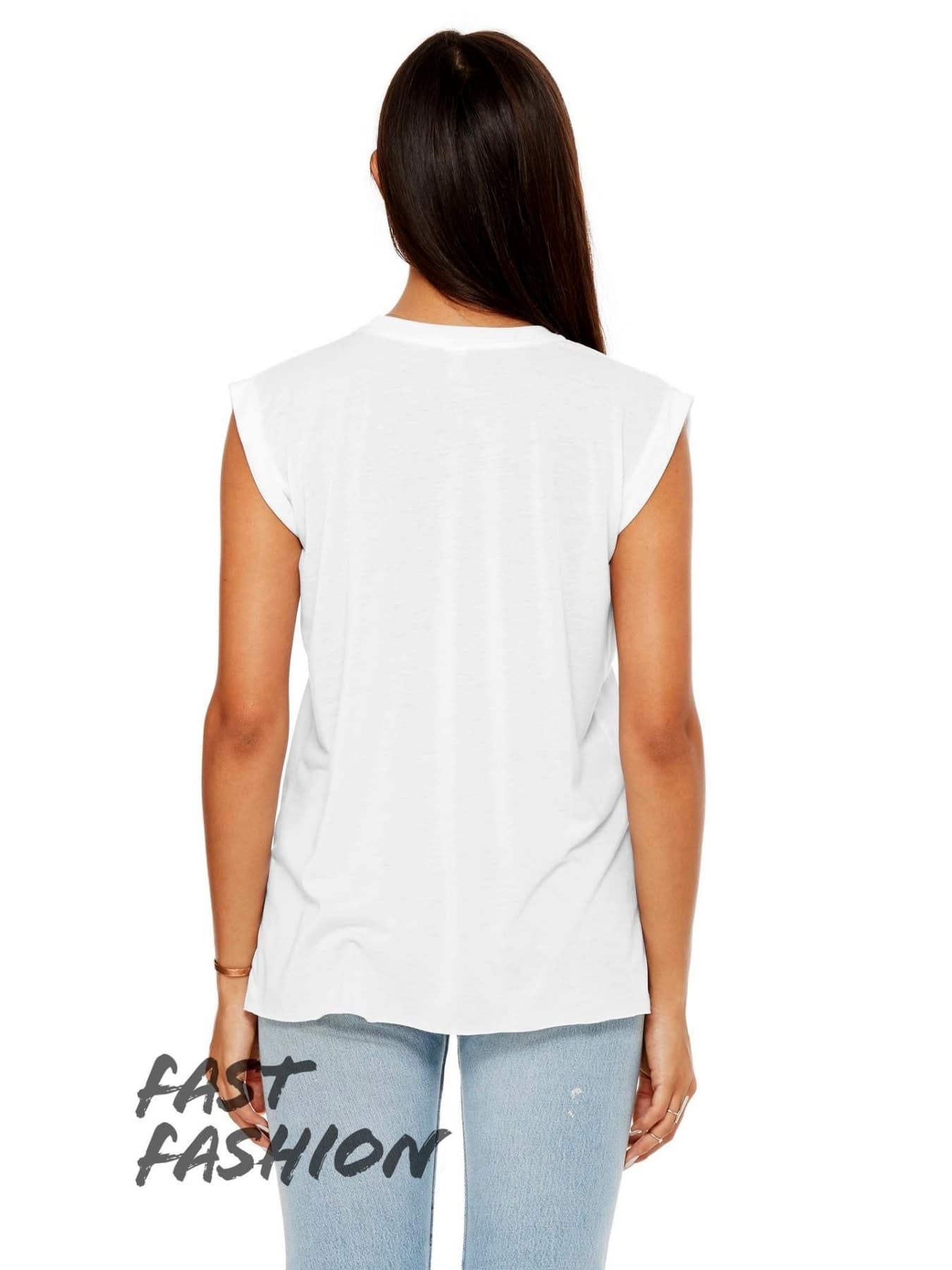 2bda526a1f837 Women s Flowy Muscle Tee with Rolled Cuff White Women s Flowy Muscle Tee  with Rolled ...