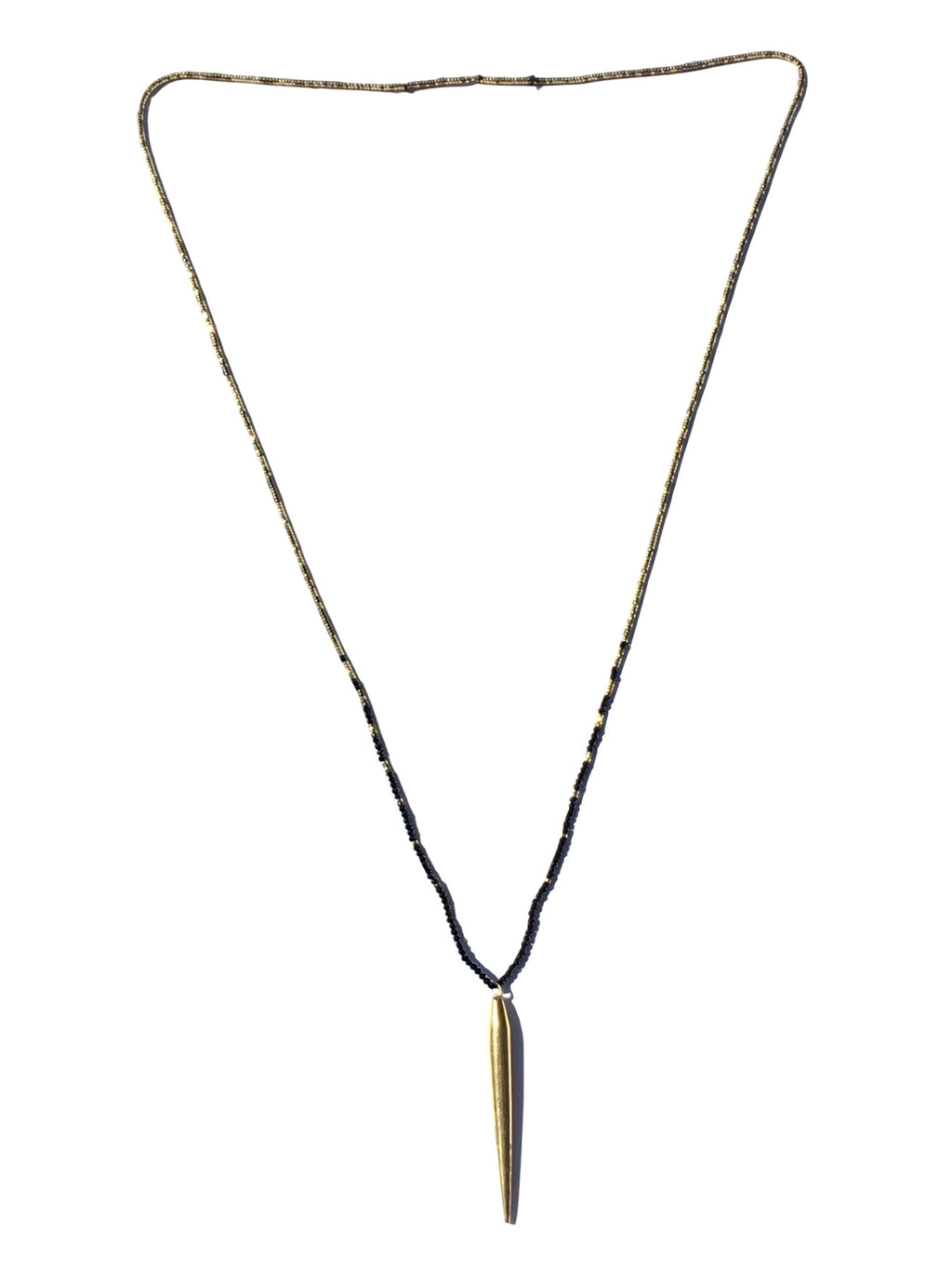 Brass & Onyx Pendant Necklace