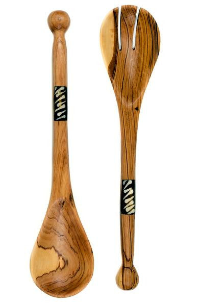 Bulawayo Kiaat Wood Salad Bowl & Wild Olive Wood Salad Servers
