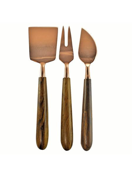 Copper and Wood Cheese Set
