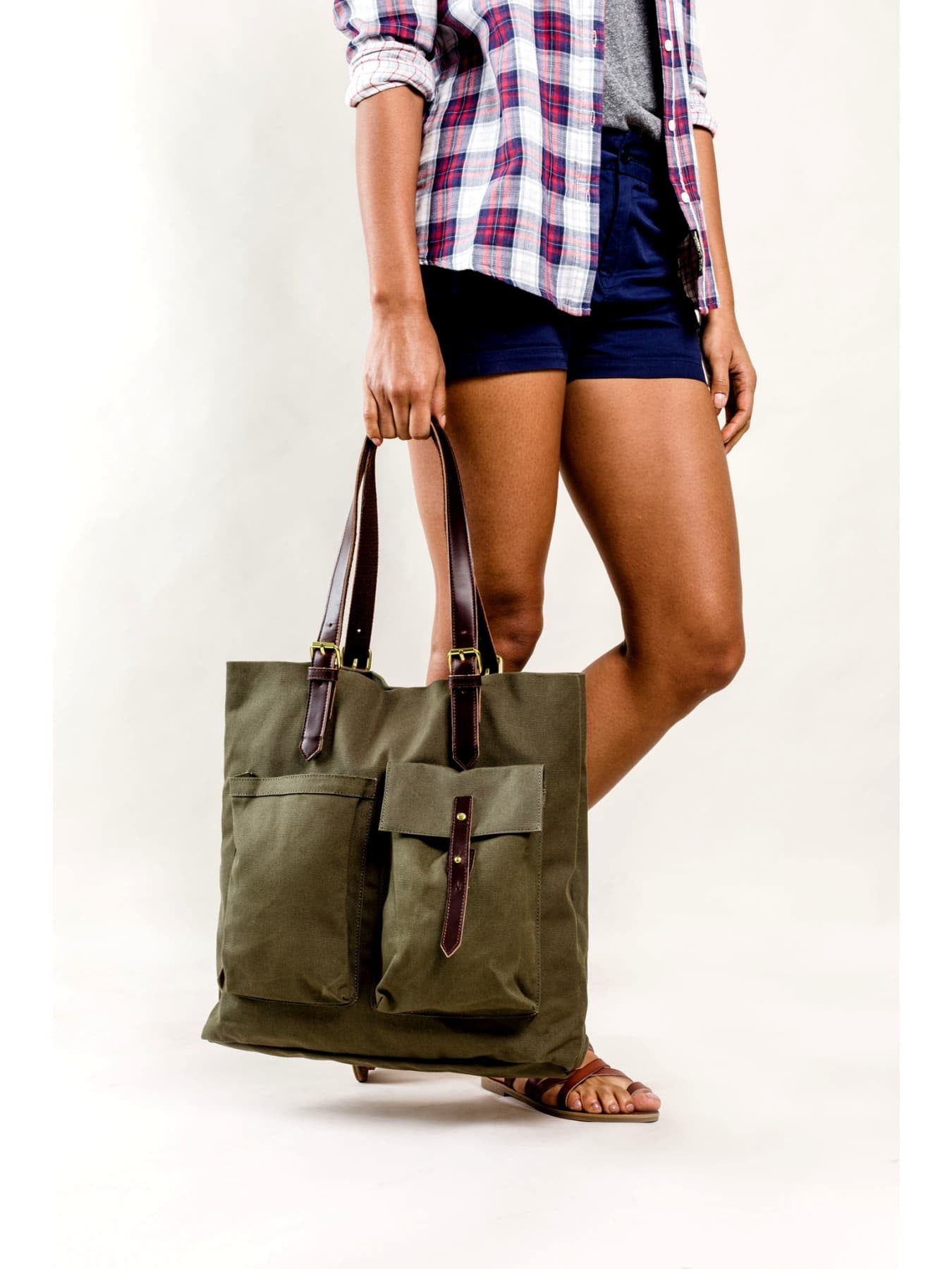 Cotton Canvas Cedar Tote Bag
