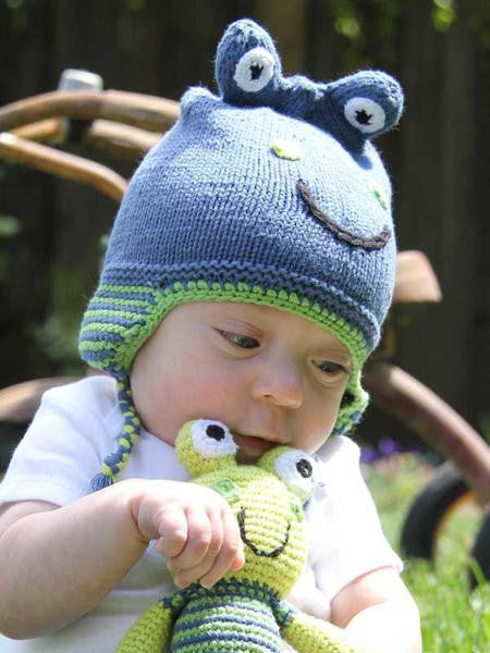 Cotton Hand Knit Blue Frog Hat